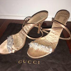 Gucci Satin crystal embellished evening shoe